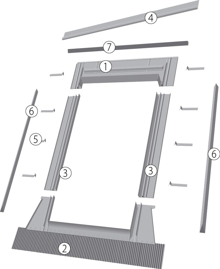 Оклады к распашным мансардным окнам ESW, EZW-P